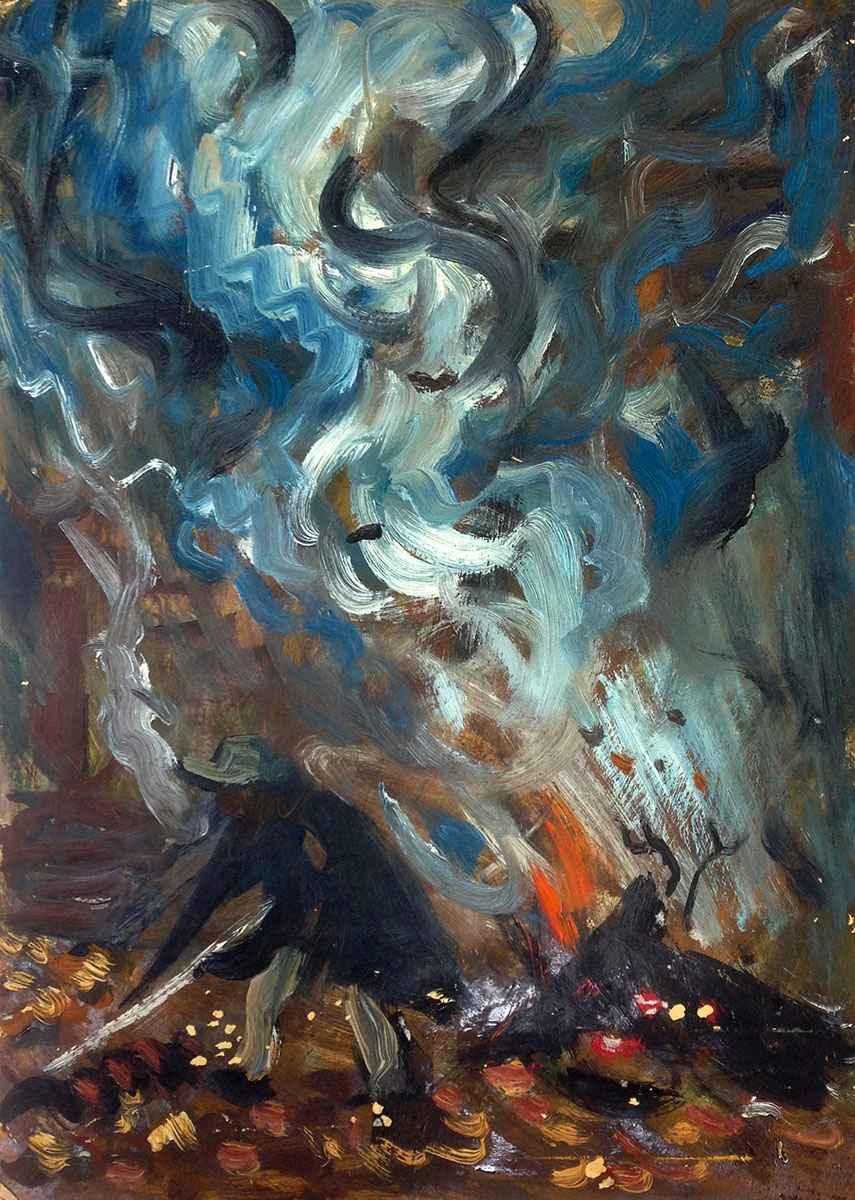 Man Burning Leaves by Mr. Schomer Lichtner - Masterpiece Online