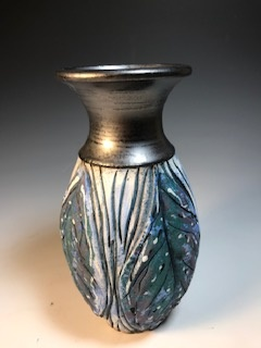 Blue Green Leaf Vase with Black Top