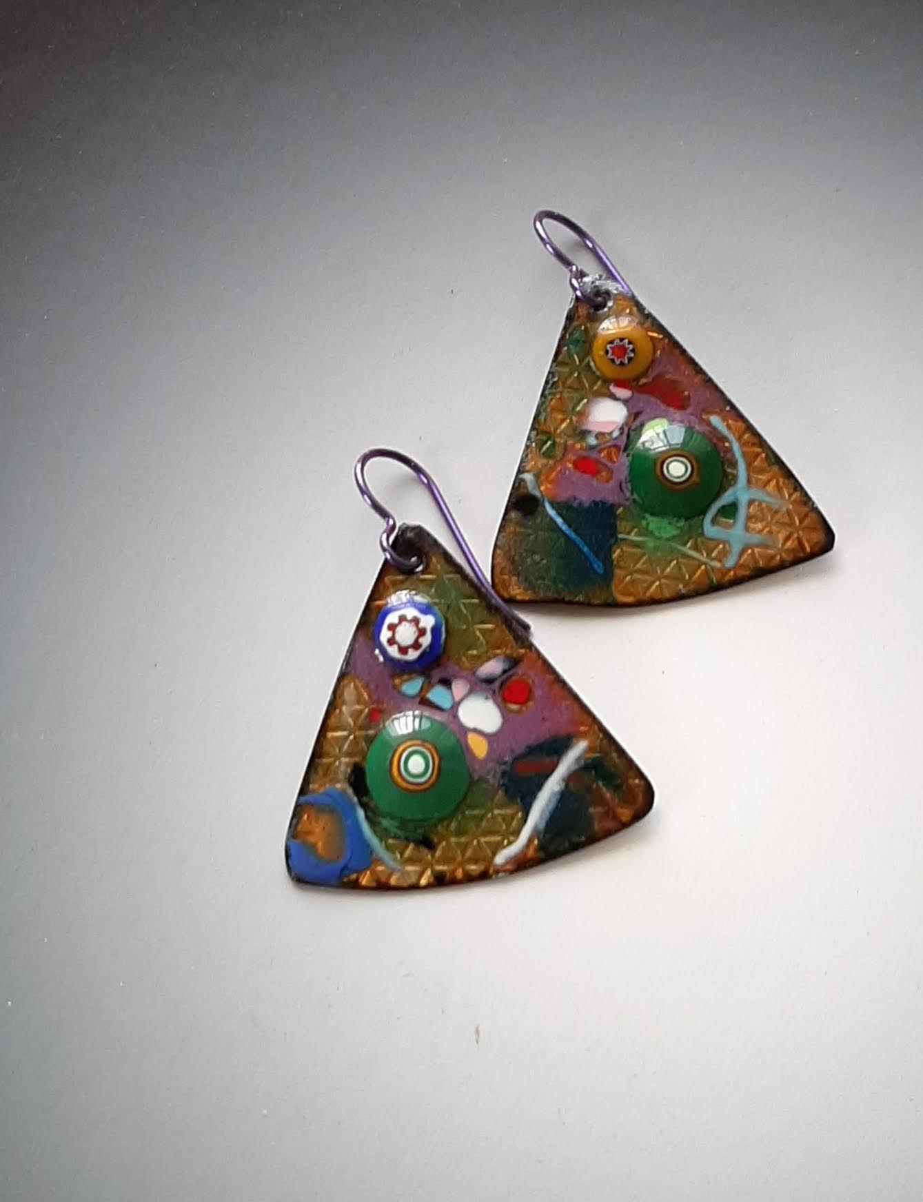Triangle Earrings with Millefiore
