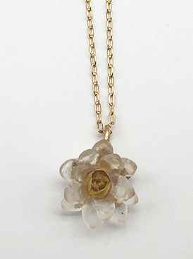 Small Lotus Flower Pendant on Chain 16