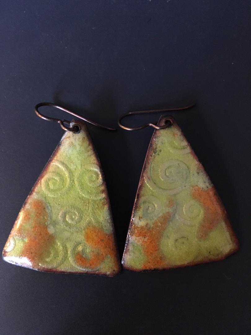 Triangle Light Green Copper Earrings with Niobium Hooks