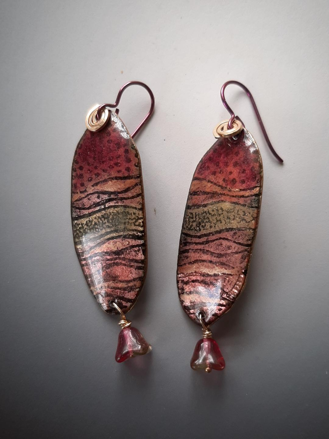 Long Oval Etched Copper Earrings with Bead Dangle and Niobium Hooks