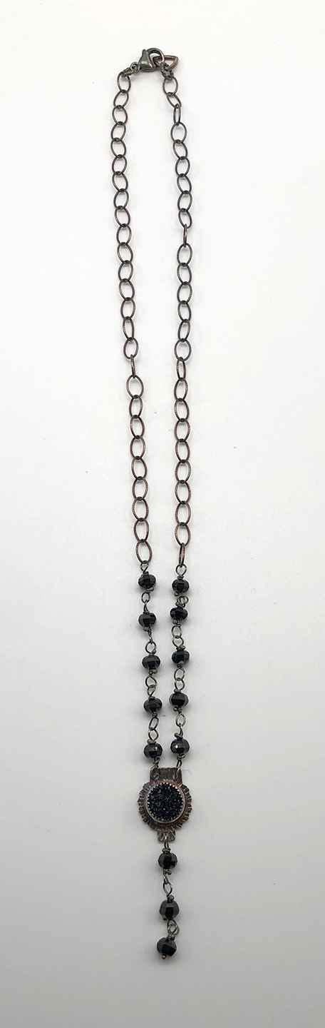 Black Quartz Druzy, Spinell Beads and Sterling Necklace