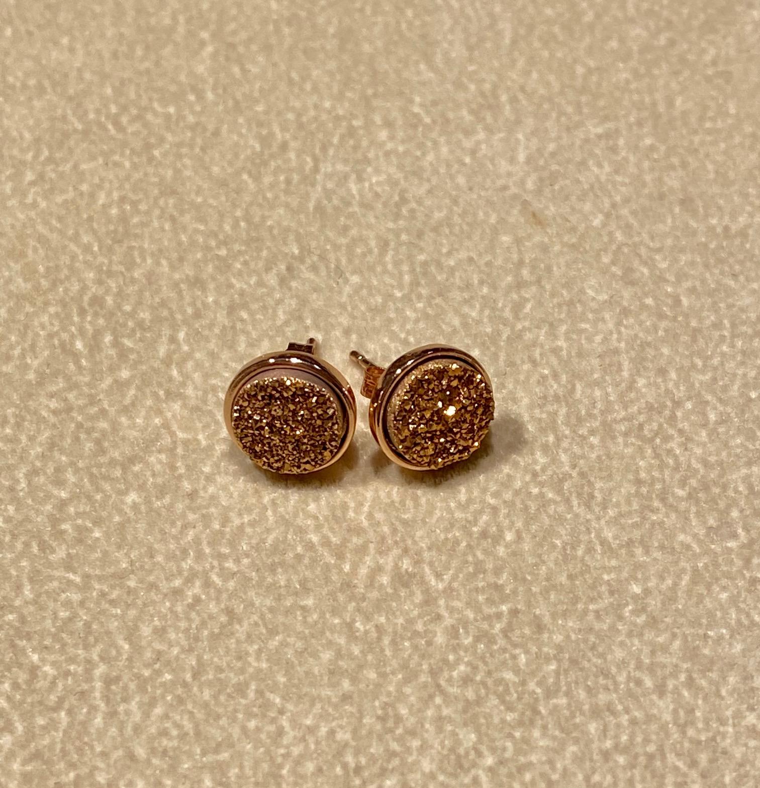 Rose Gold Druzy set in Rose Earrings, 8mm