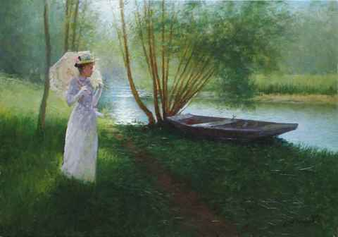 Summer at the Lake by  Alexander Popoff  - Masterpiece Online