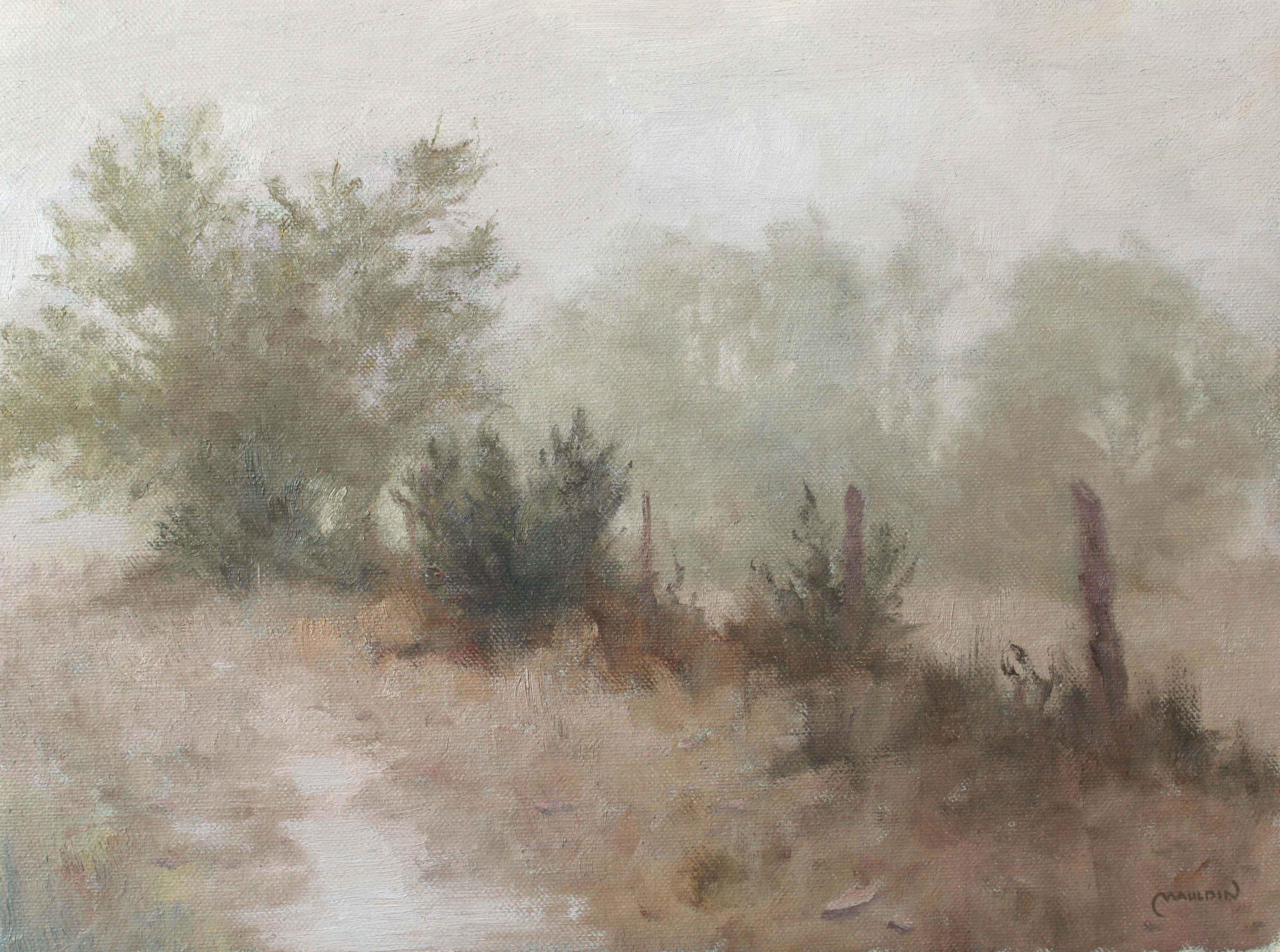 Foggy Fence Line by  Chuck Mauldin - Masterpiece Online