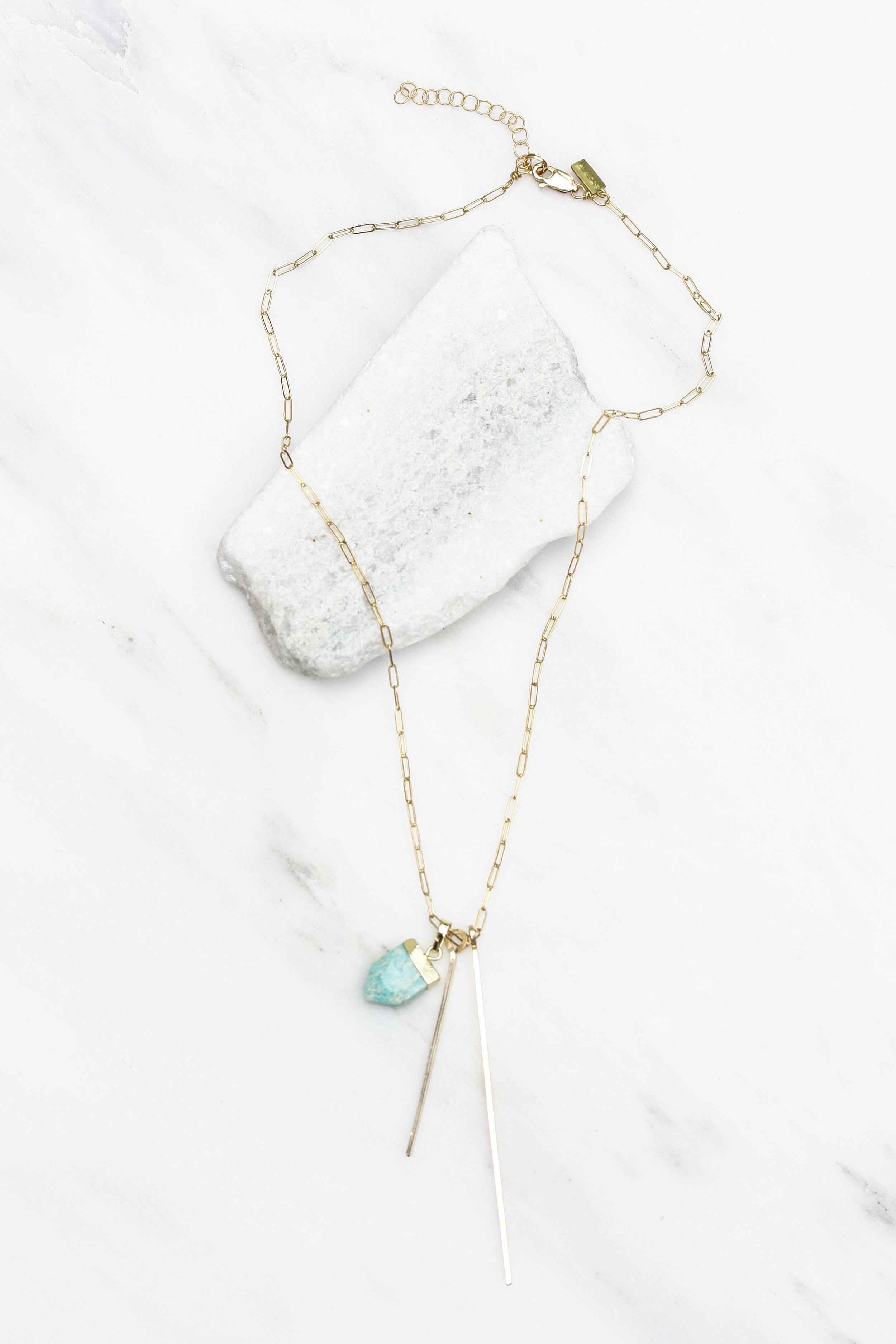 Amazonite Shield Accent Double Bar Short Necklace