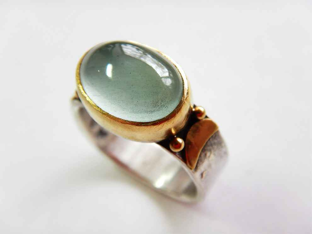 Double Moon Ring Sterling, 22k Gold and Aquamarine, size 8