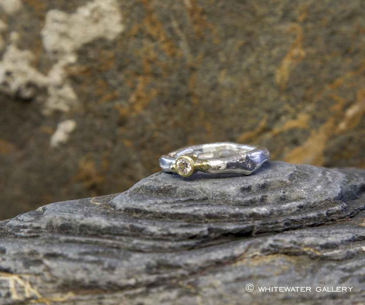 Rustic Diamond Ring w... by  Marsha Drew - Masterpiece Online