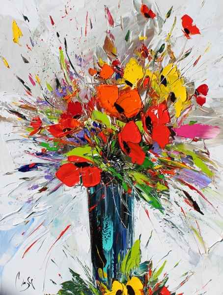 Bouquet of Red  Yellow by  Louis  Magre - Masterpiece Online