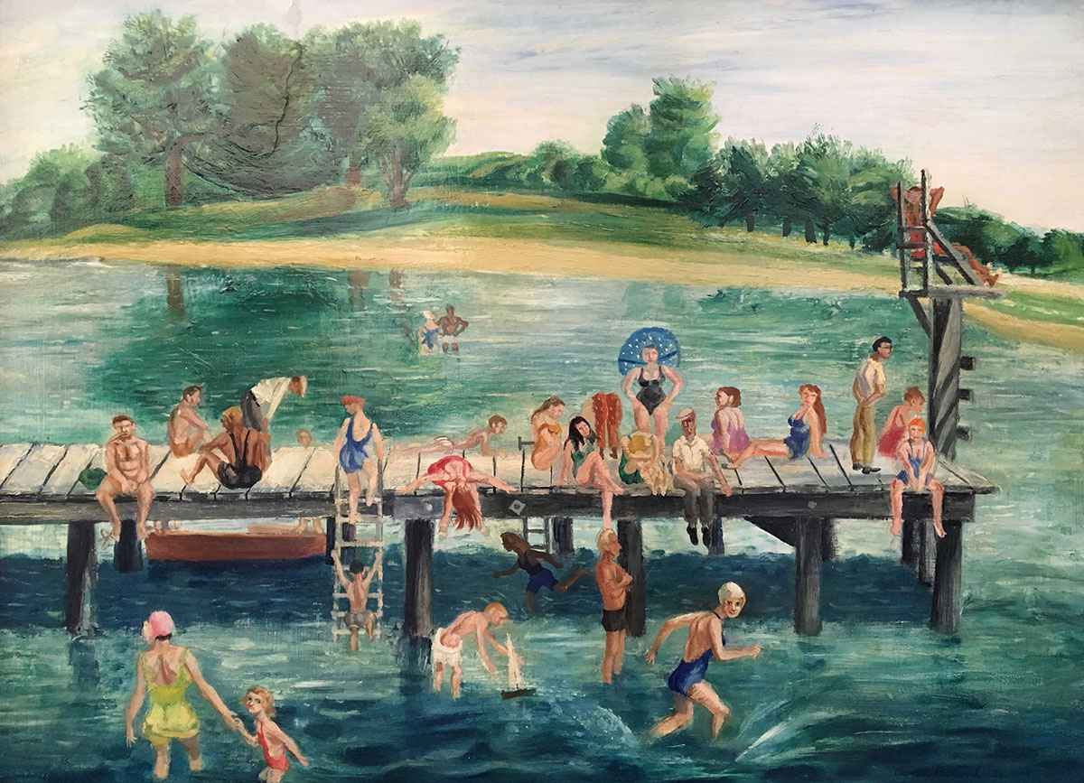 Bathers on Chic Pier by Mr. Aaron Bohrod - Masterpiece Online