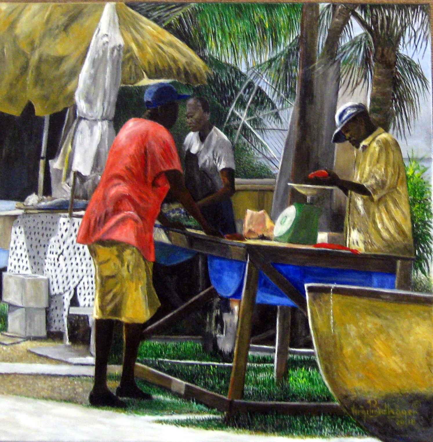 Selling Fish  Six Men... by Mr. Virgil Broodhagen - Masterpiece Online