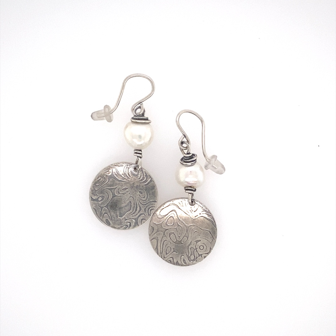 Earrings - Sterling Silver and Fresh Water Pearl Textured Disc