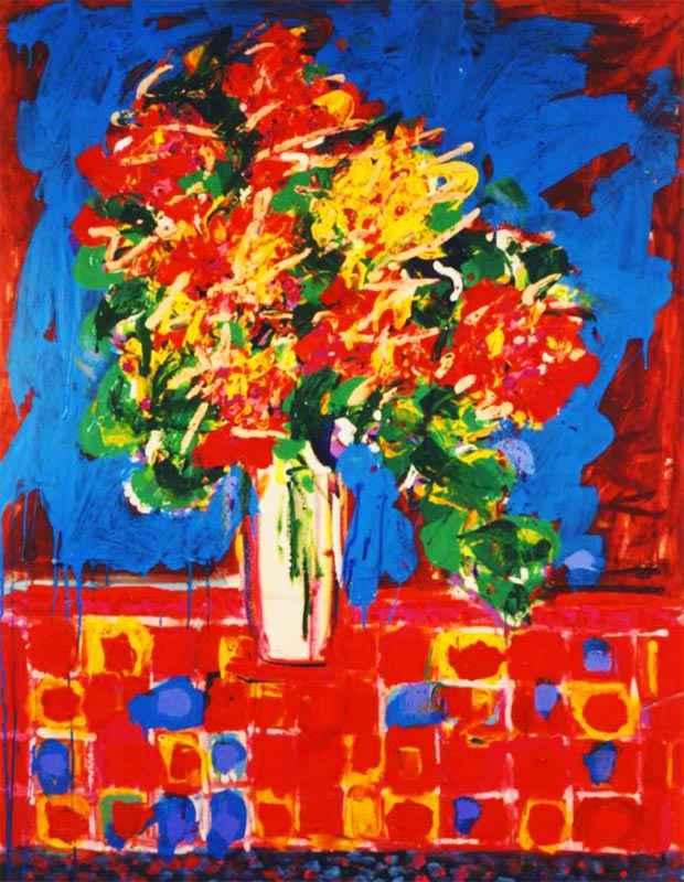Floral on a Tile Table by  Wayne Ensrud - Masterpiece Online