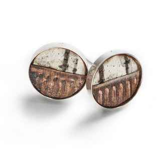Classic Earrings Birch Bark, Recycled Copper and Sterling, 1/2