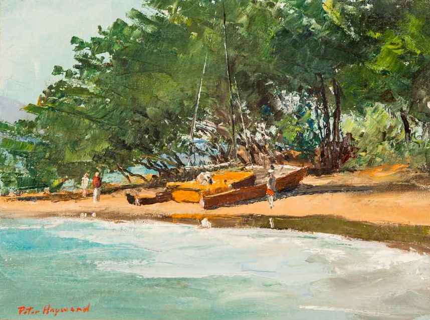 Catamaran at Kaʻaʻawa... by  Peter Hayward (1905-1993) - Masterpiece Online