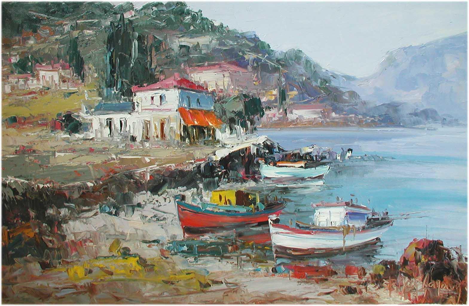 Aegean Coastal Village by  Fani  Parlapani  - Masterpiece Online