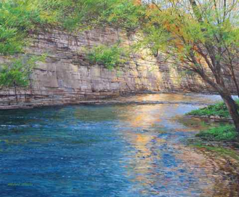 Cliff and River Refle... by  Michael Wheeler - Masterpiece Online