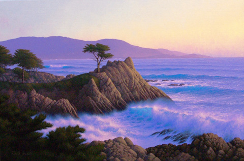 Lone Cypress Near Sun... by  David  Dalton  - Masterpiece Online