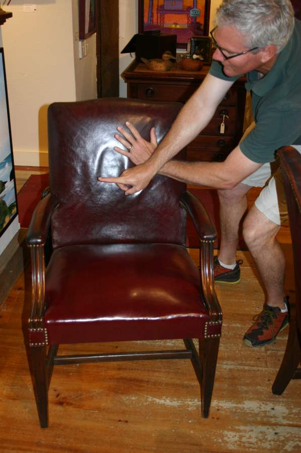Six Red Leather Chairs by  Antiques  - Masterpiece Online
