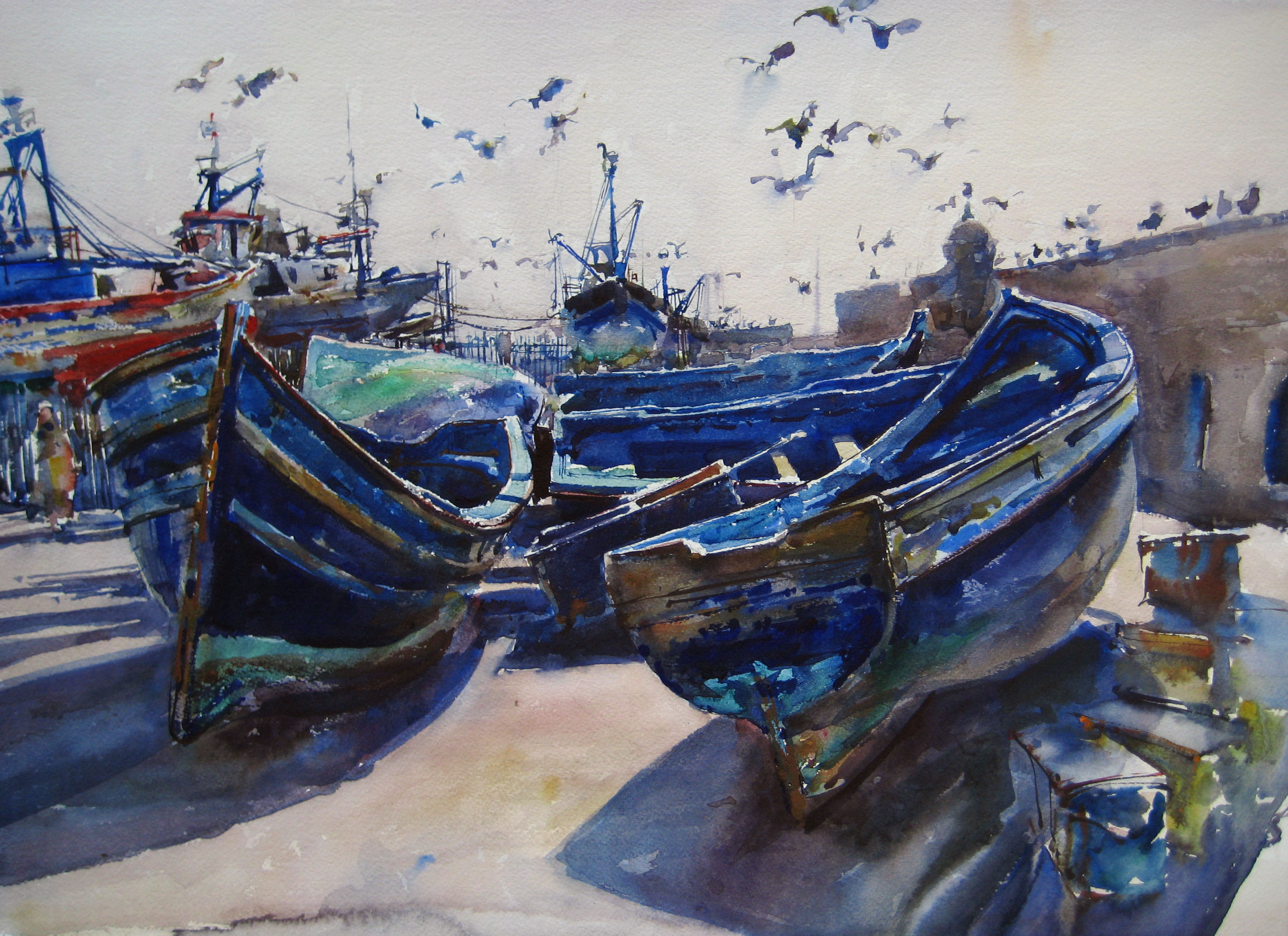 Birds and Boats by  Daud Akhriev - Masterpiece Online