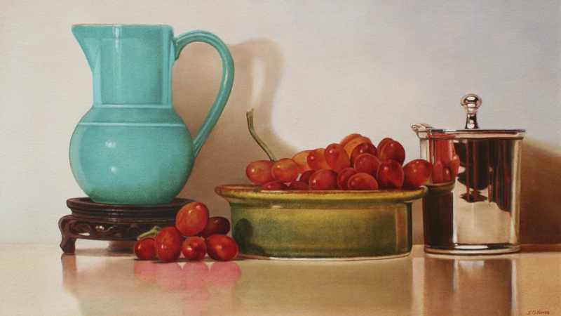 Grapes In Green Dish by Ms. Judy Nunes - Masterpiece Online
