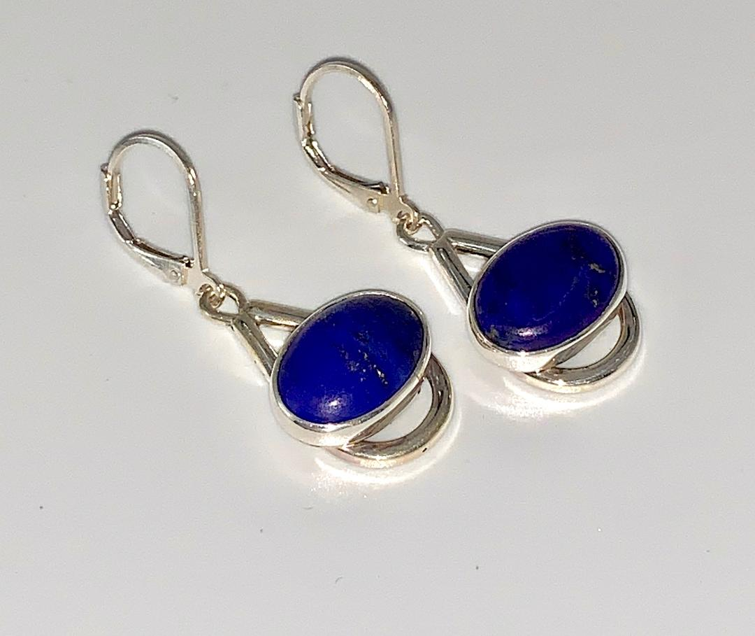 Silver Lapis Earrings, Sterling Silver