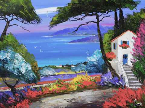 House with Blue Door by  Louis  Magre - Masterpiece Online