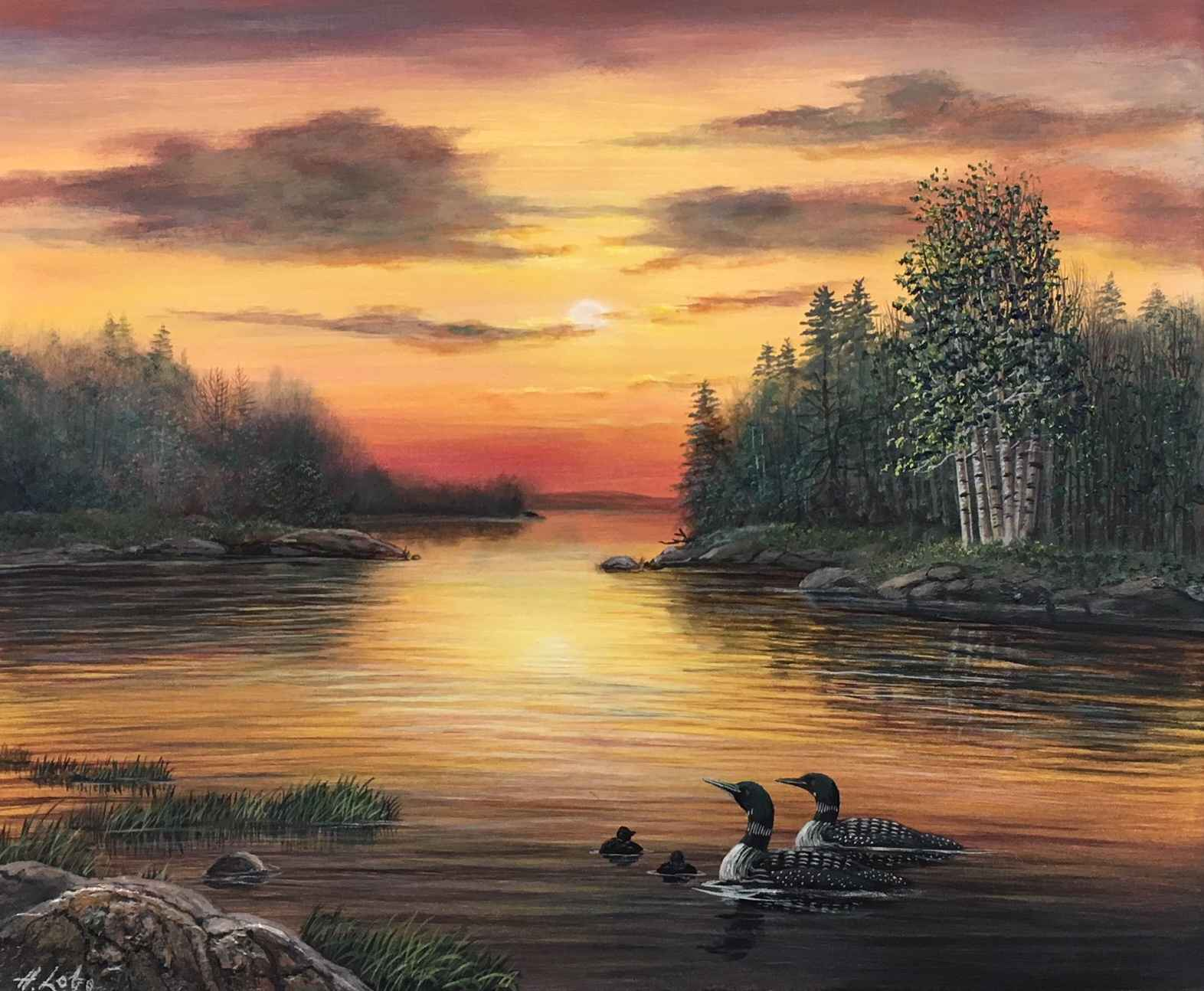 Sunset Loons by  Henry Lobo - Masterpiece Online