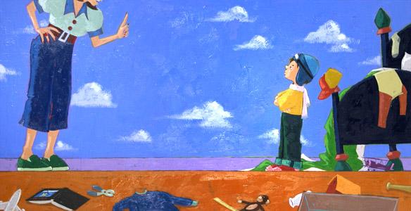 Mom Pointing At Boy  by  Joe Cepeda