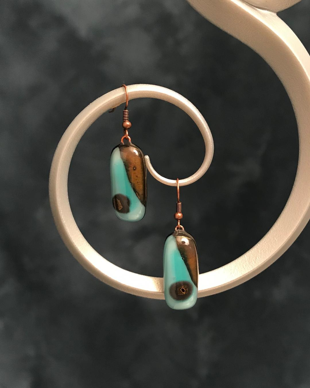 Fused Glass Opposites  in Aqua & Brown with Bronze Plated Wires