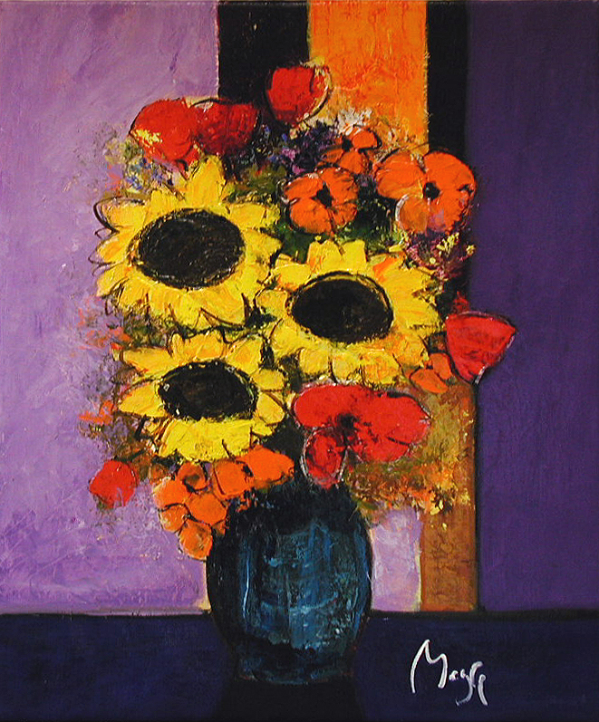 Sunflowers and Stripes by  Louis  Magre - Masterpiece Online