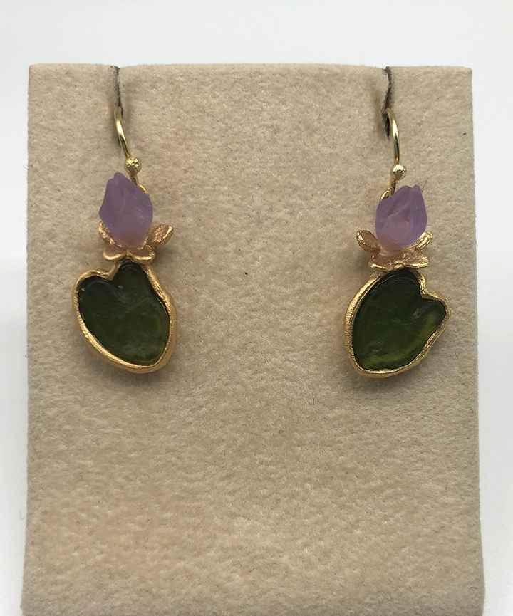 Water Lily Wire Earrings 1 1/8