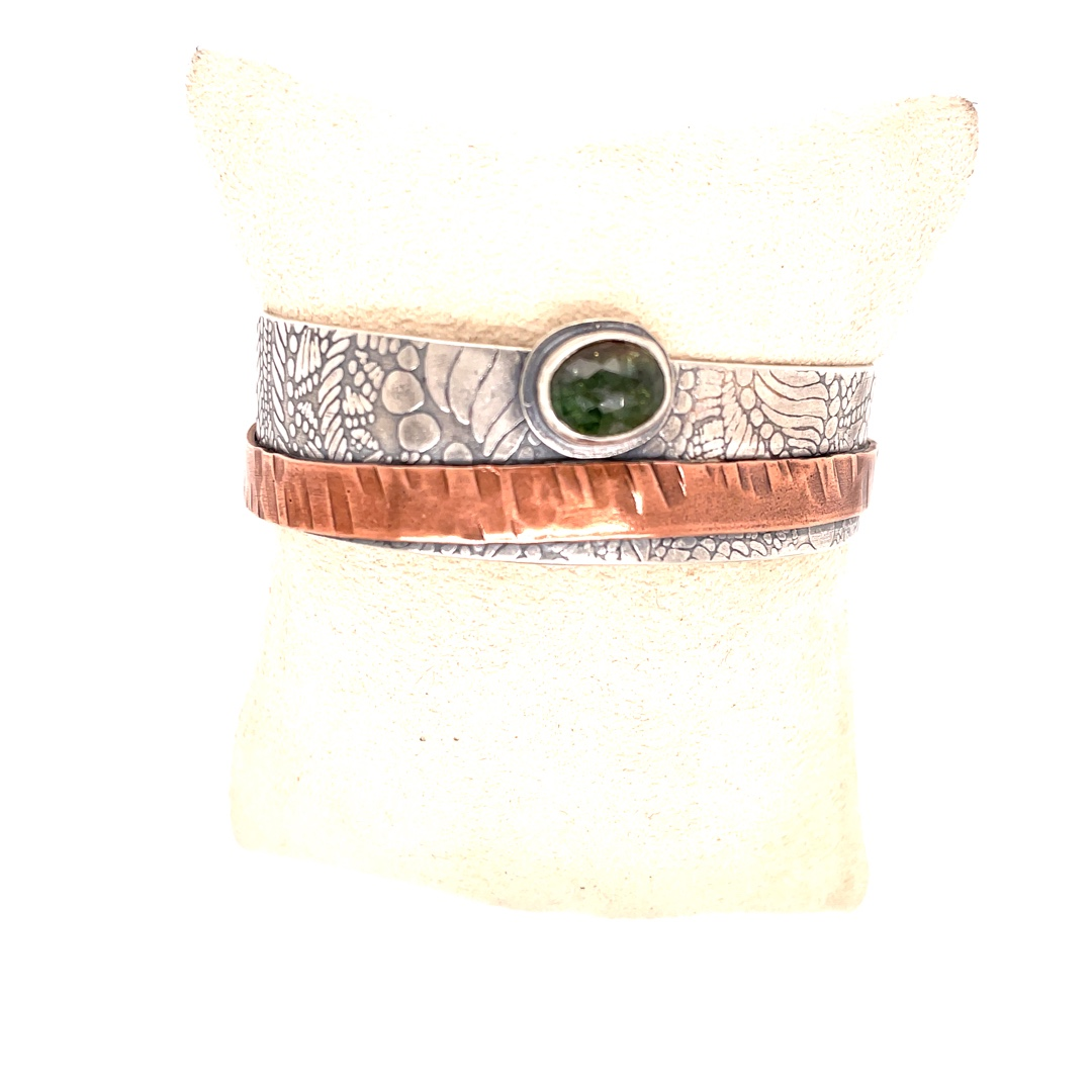 Green Tourmaline, Sterling Silver and Copper Cuff
