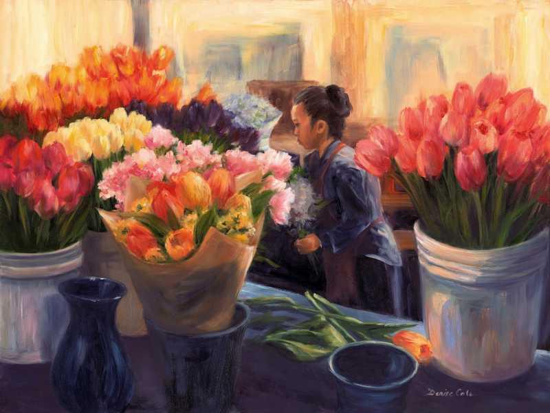 Market Tulips by Mrs Denise Cole - Oils - Masterpiece Online