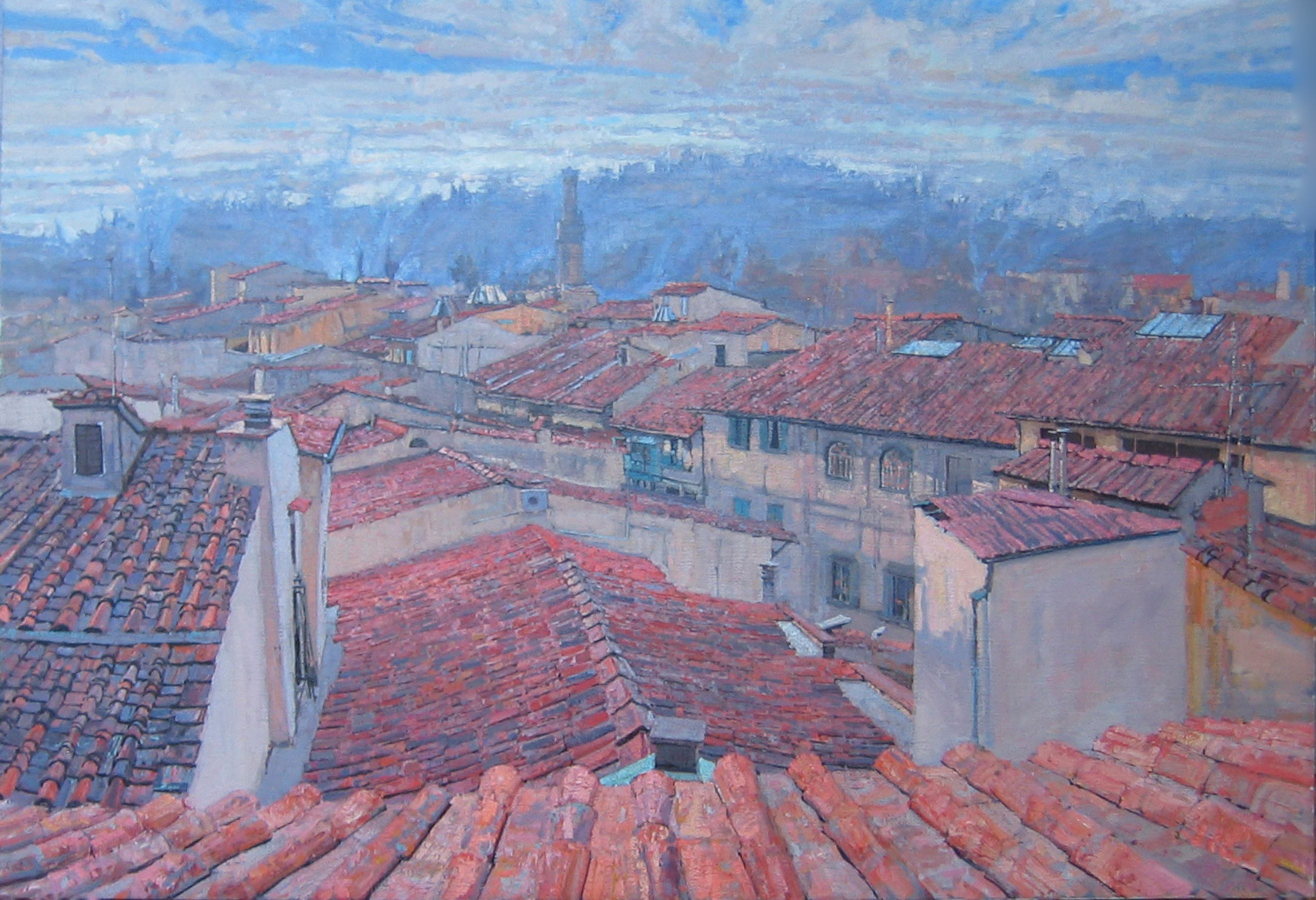 Evening, Rooftops of ... by  Daud Akhriev - Masterpiece Online