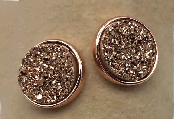 10mm Round Rose Gold Druzy set in Rose Gold Earrings