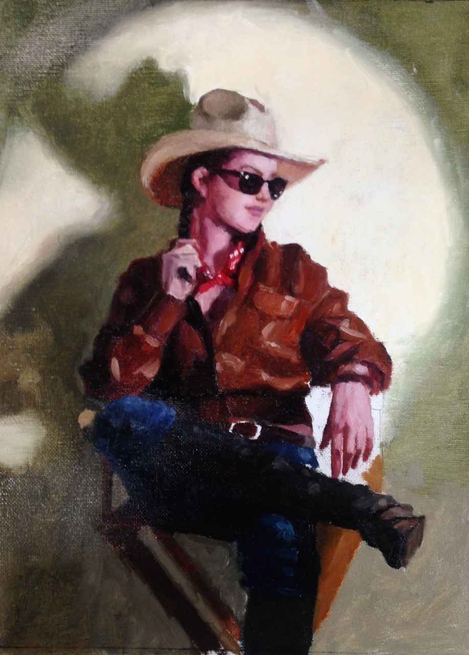 Moonlit Cowgirl by  Michael Fitzpatrick - Masterpiece Online
