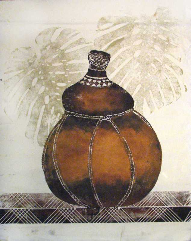 Gourd with 2 Monstera by  Marcia Ray - Masterpiece Online