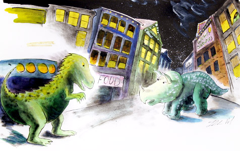 Two Dinosaurs  by  Thacher Hurd