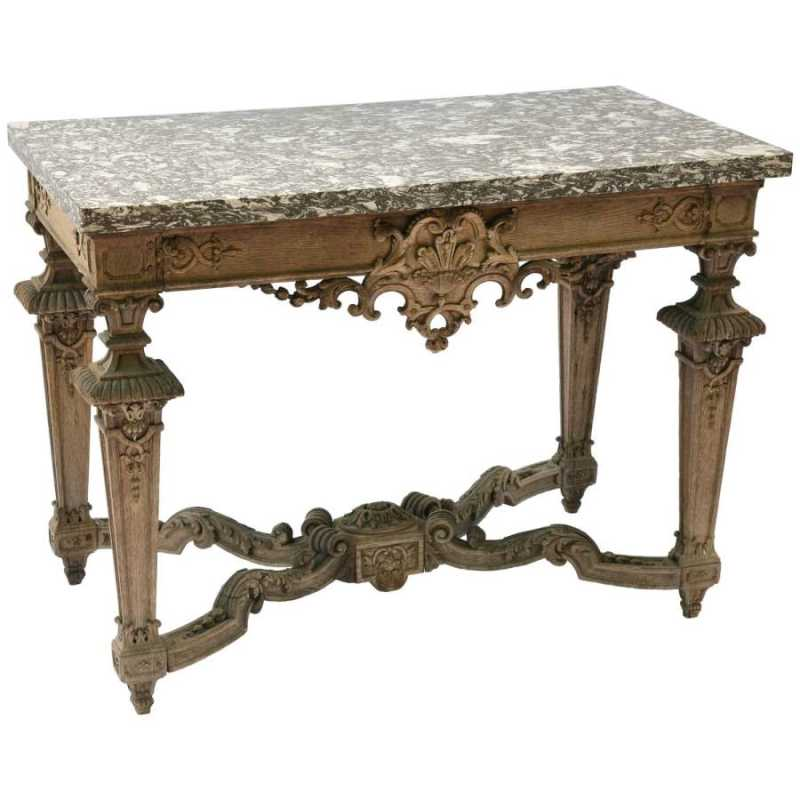 Finely Carved Bleached Oak Console Table With Marble Top By English