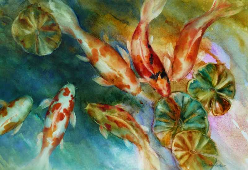 Koi in Contrast by Mrs Denise Cole - Watercolors - Masterpiece Online