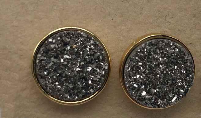 10mm Round Silver Druzy set in Gold Earrings