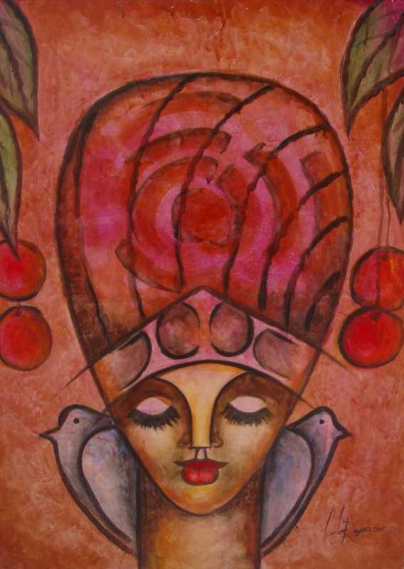 Head with Cherries an... by  Haitian Fine Art  - Masterpiece Online