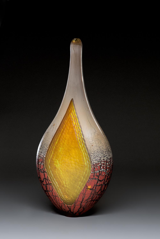Gold Red Battuto Jar by  Peter Wright - Masterpiece Online