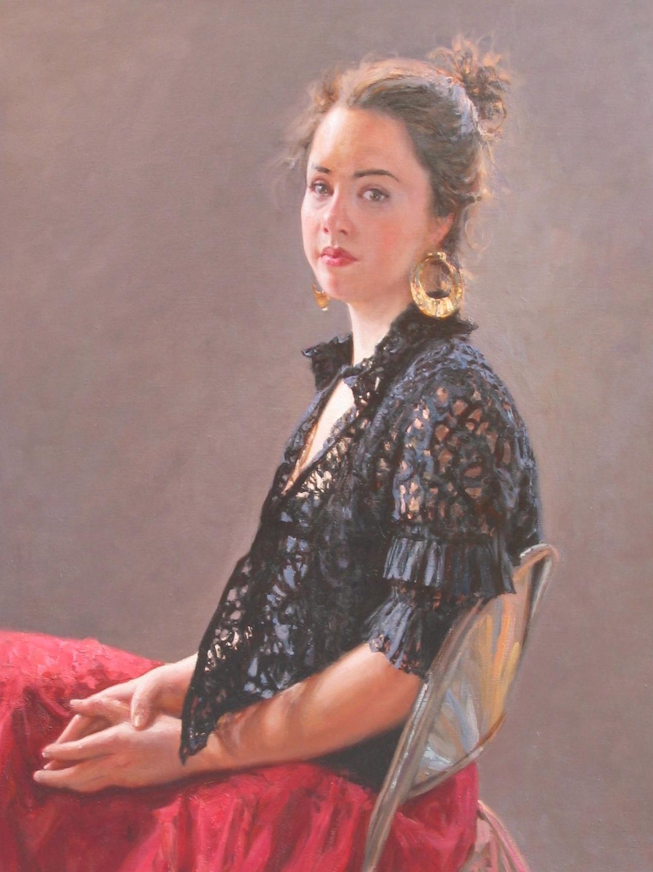 Girl in a Red Skirt by  Daud Akhriev - Masterpiece Online