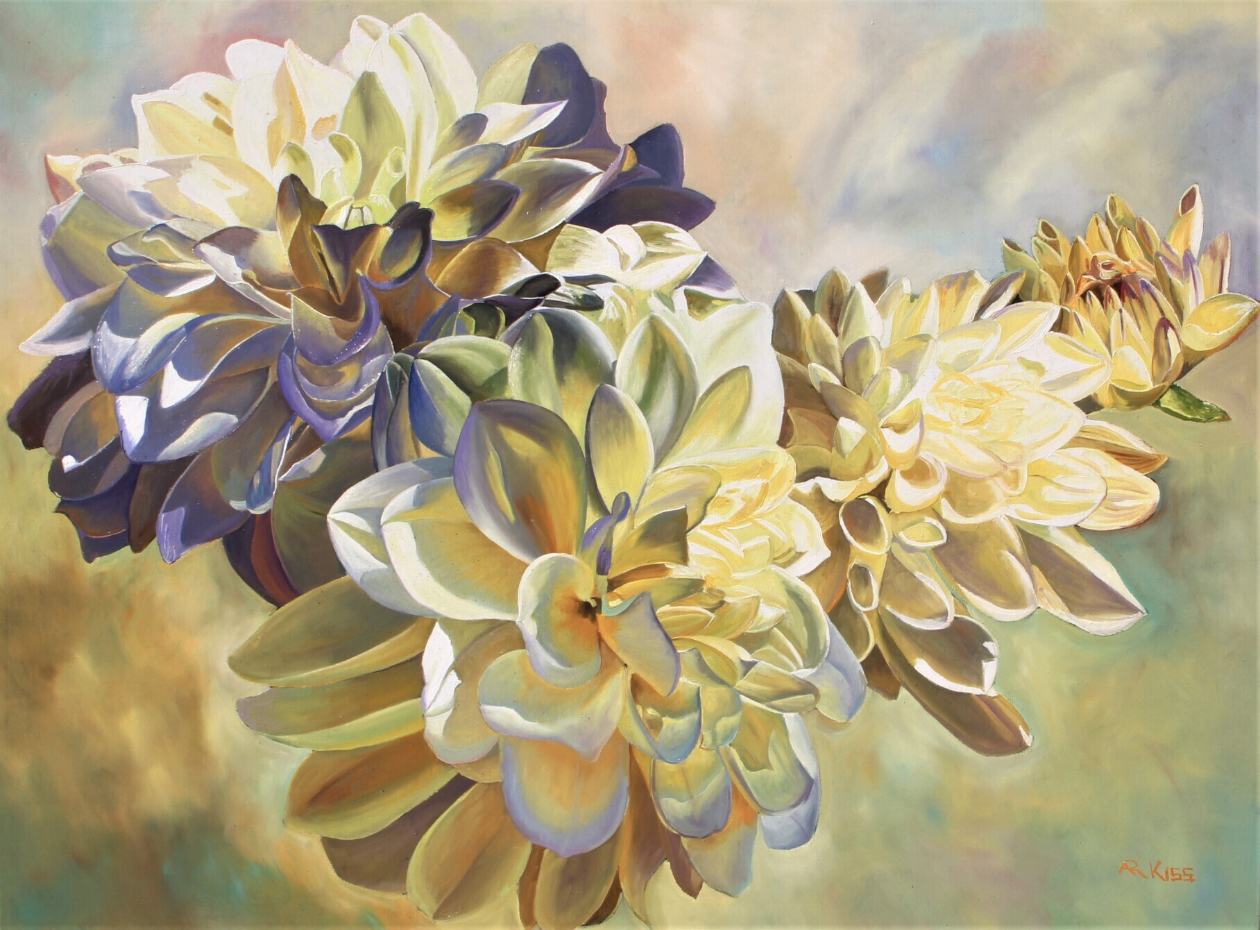 Dahlias by  Andrew Kiss - Masterpiece Online