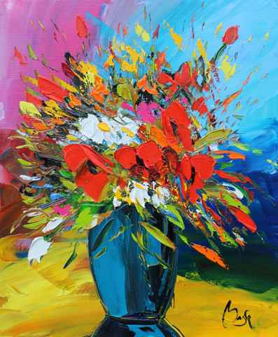 Bouquet, Colorful Bac... by  Louis  Magre - Masterpiece Online