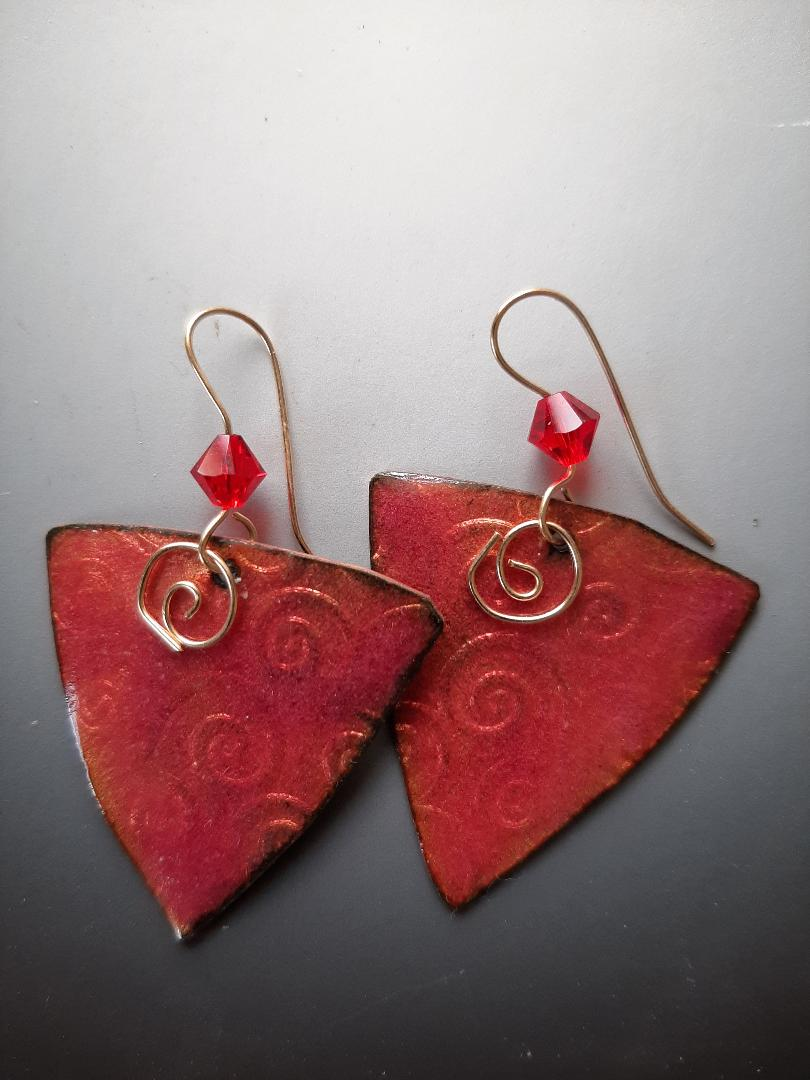 Triangle Red Earrings in Copper with Crystal and Gold-filled Hooks
