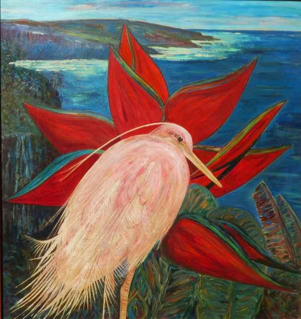 Hawaiian Egret and He... by  Stark Davis (1885-1950) - Masterpiece Online